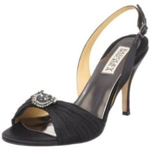 Badgley Mischka black rhinestone heels.