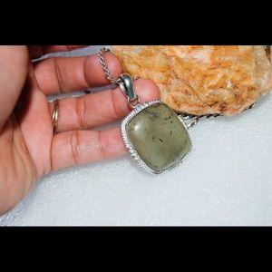"handmade & handcrafted gemstone jewelry Jewelry - Green Skin Boulder Jasper Pendant 2"" 925 Silver"