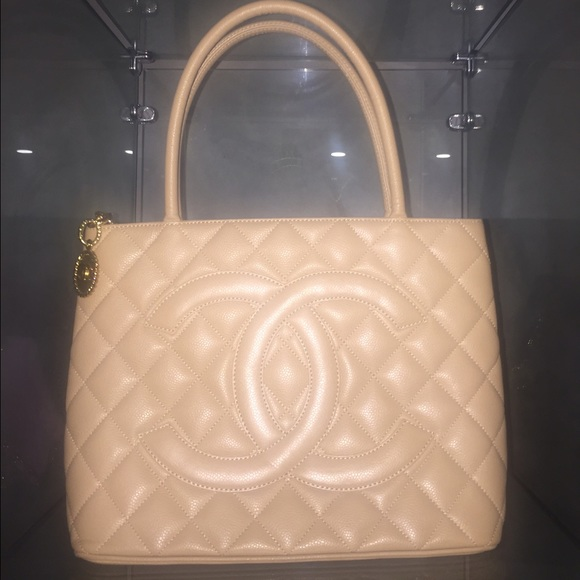 cf5713721c533a CHANEL Bags   Sold Authentic Beige Caviar Medallion Tote   Poshmark