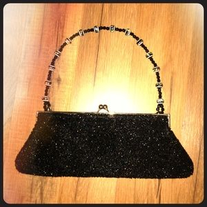 VINTAGE! Black beaded purse with beaded handle
