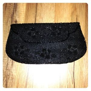 VINTAGE black beaded flat clutch purse bag