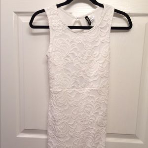 White Lace Dress With Scalloped Hem