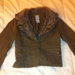 S - Faux Fur Lined blazer style jacket