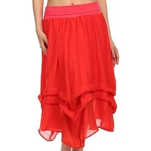 J-Mode Dresses & Skirts - J-Mode Red Gathered Midi Skirt