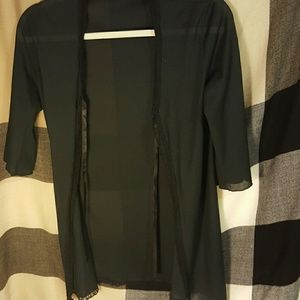 black semi sheer kimono cover up lace trim