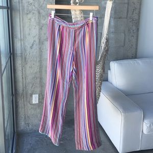 Bright colorful silk trousers