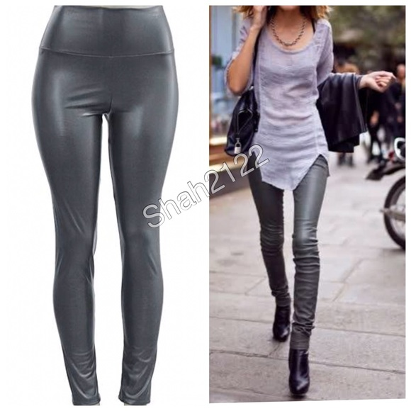 Relatively Boutique Pants | Gray Faux Leather Leggings High Waist Sexy Fleece  RO42