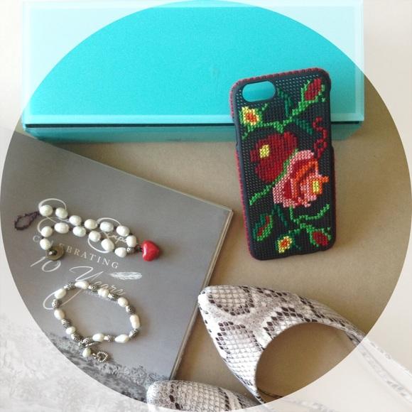 online retailer 99a45 a6b87 iPhone 6 Plus case pink rose flower cross stitch Boutique