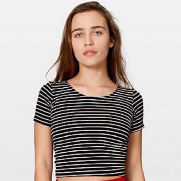 009435e0537 American Apparel Tops | Stripe Cotton Spandex Jersey Crop Tee | Poshmark