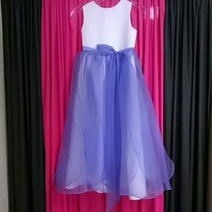 Other - Flower girl dress size 8 white and orchid purple