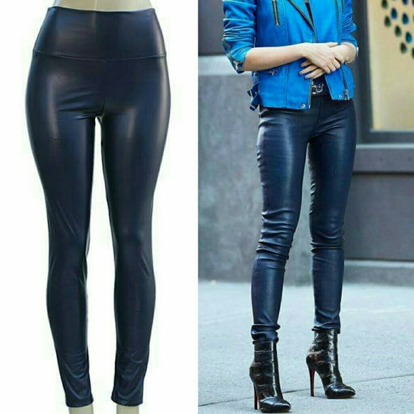 Boutique - Faux leather leggings high waisted Navy New sexy from ...