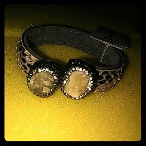 Genuine stone & snake skin style cuff