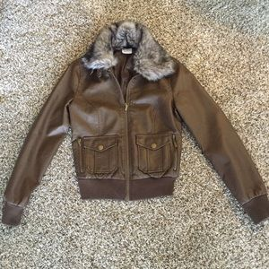 Faux brown leather jacket w/ detachable fur sz S