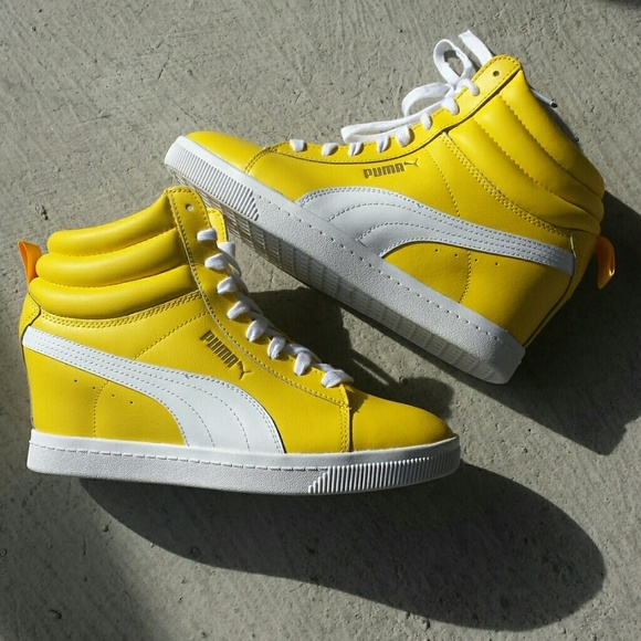 Puma Yellow Wedge Sneakers ab00b7461