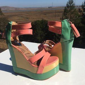 Matiko Shoes - Matiko Echo Wedges Colorblock Platform Pink Green