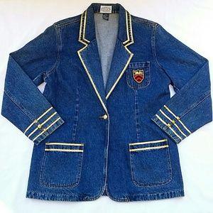 Vintage Jackets & Coats - 🚫SOLD🚫Vintage Gold Trimmed Denim Blazer