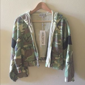 Wildfox Tops - SOLD! NWT WILDFOX Draped Camo Cropped hoodie
