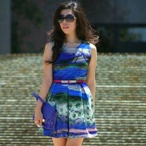 Dresses & Skirts - Blue and Green Flower Ocean Sleeveless Dress