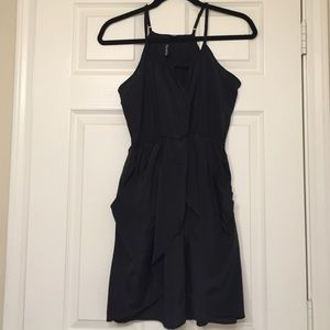 Black dress with draping & pockets