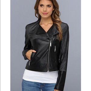 Vince Camuto perforated faux leather moto jacket