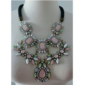 New! Pink Mint Green Rhinestone Statement Necklace