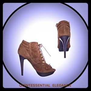 N.Y.L.A. Shoes - N.Y.L.A. Suede Fringe Open Toe Ankle Boots
