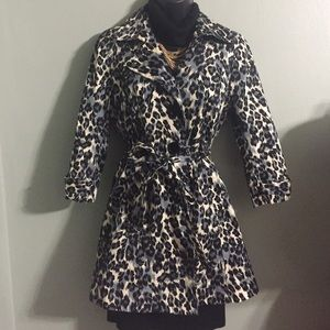 Leopard Print Trench Jacket