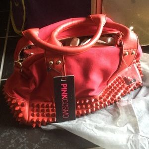 Pink Cosmo Handbags - Brand new red stud spike handbag duffle