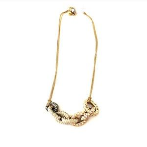 Mixed pave link pendant necklace