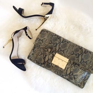 Tory Burch Snakeskin Oversized Convertible Clutch