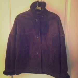 """Great chocolate brown, """"fur"""" lined suede jacket!"""