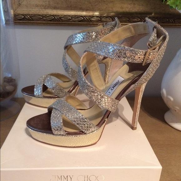 03628bb9c6b Jimmy Choo Shoes   Vamp Champagne Glitter Sandals   Poshmark