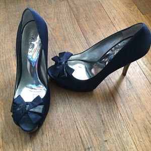 navy blue satin heels on Poshmark