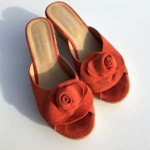 Sotto Sopra Shoes - Sotto Sopra Coral Orange Suede Rose Cork Wedges 8