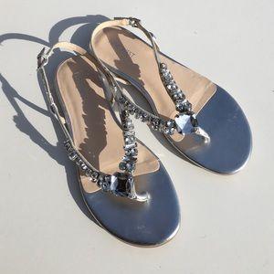 Nine West Shoes - Nine West Zui 3 Rhinestone Silver Sandals 8
