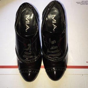 MIA black patent booties. Size 6