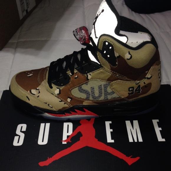 online store 9f857 d9acc Supreme Jordan 5 Desert Camo Size 9