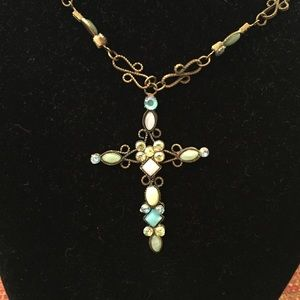 Jewelry - NWT Bella Lia turquoise cross necklace