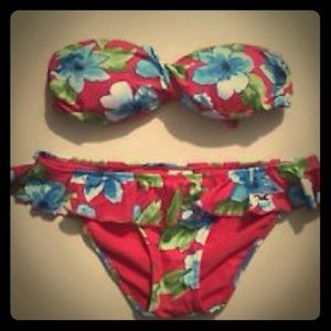 Hollister red floral bikini