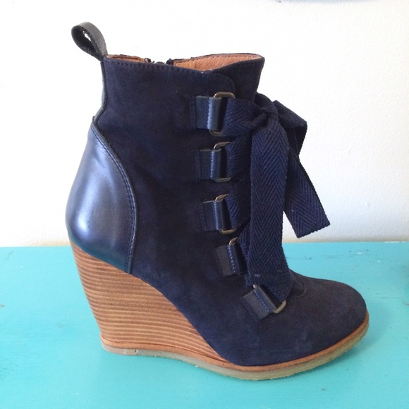 ef65a62e671 Seychelles navy wood wedge suede lace up booties. M 562a934e3c6f9f6cba0028e7