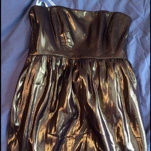 NWT Shoshanna gold lame strapless cocktail dress