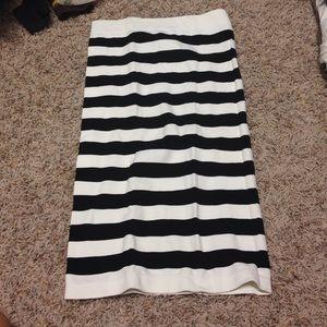 Bebe black and white stripe tube bodycon