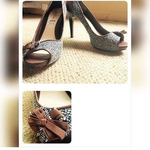 Lela Rose Shoes - Lela Rose Tweed peep-toe heels