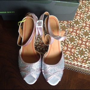 Miss Sixty Shoes - Miss Sixty Silver Ankle strap Glitter Wedge Shoes