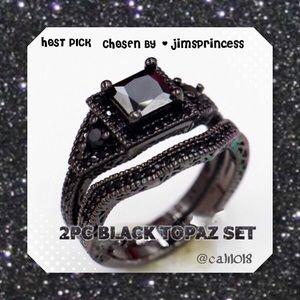 Boutique Jewelry - 5⭐🆕2pc Black Sapphire 10K Black GF Wedding Set