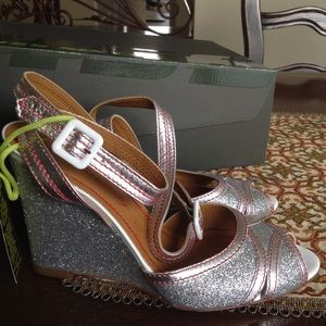 Miss Sixty Shoes - New Miss Sixty Silver Glitter Ankle Wedge Sandals