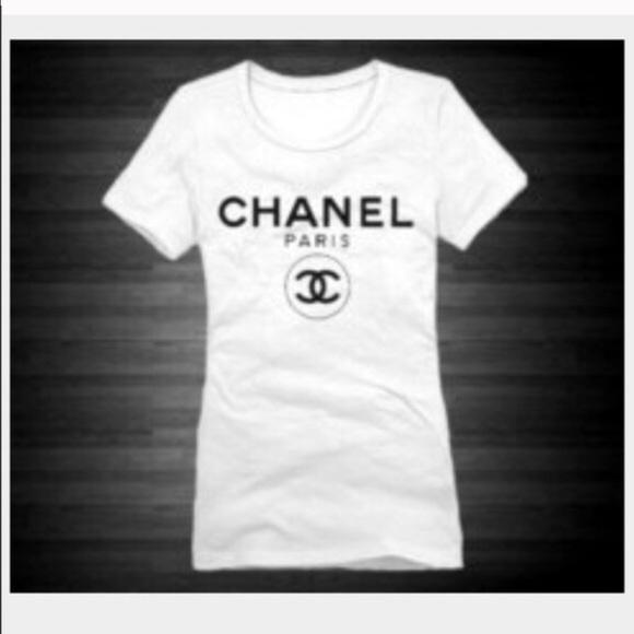 Chanel tops logo t shirt small poshmark for Authentic chanel logo t shirt