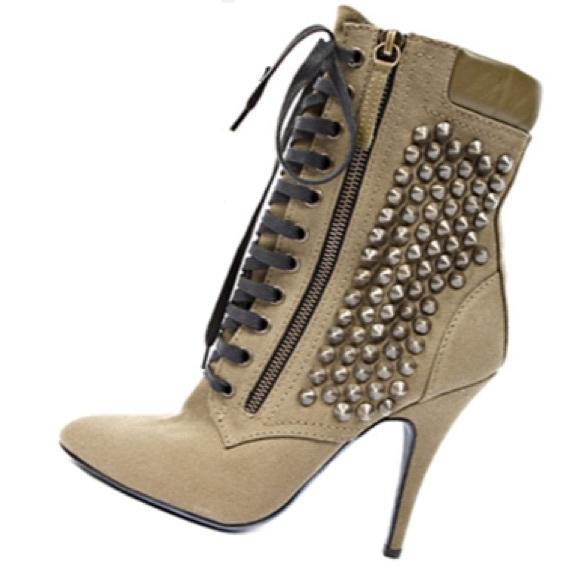 Giuseppe Zanotti Woman Lace-up Studded Suede Ankle Boots Beige Size 38 Giuseppe Zanotti i8x5hJbN3N