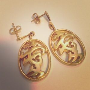 "Vintage Trifari ""LOVE"" calligraphy earrings"