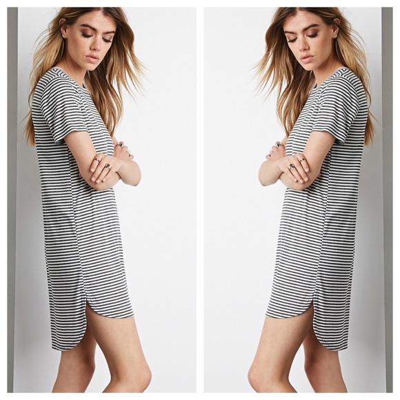 b666006ffb9 Forever 21 Dresses   Skirts - Forever 21 Stripe T-Shirt Dress Heather Grey